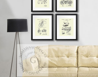 Fathers Day Gift Harley Davidson posters set 4B set of 4 Cream, Motorcycle Wall Decor, Patent Art, Biker Decor Man cave Decor Neutral  decor