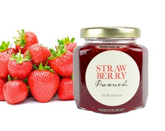 Gourmet Strawberry Preserves // All Natural // New Hampshire Home Grown // 6 oz