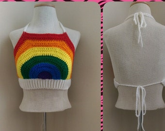 Rainbow Crop Top *PDF PATTERN ONLY* Instant Download Crochet Pattern