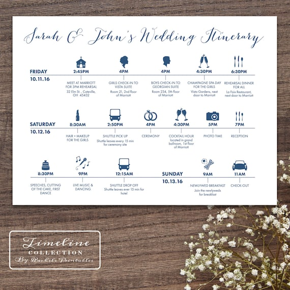 Printable Wedding Timeline Day Of Itinerary Schedule Card