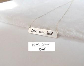 Custom Handwritten Bar Necklace,Silver Signature Bar Necklace,Handwriting Bar Necklace,Personalized Handwriting Necklace,XOXO