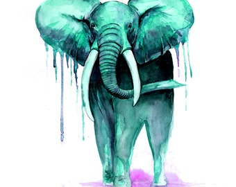 Green and Pink elephant Print from original watercolour painting