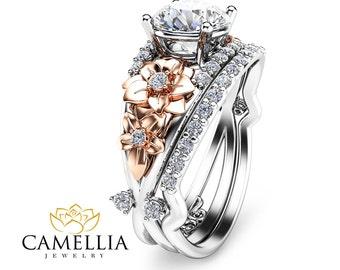 Two Tone Gold Diamond Engagement Ring Set Unique Bridal Set 14K Floral 1ct Diamond Ring Wedding Set