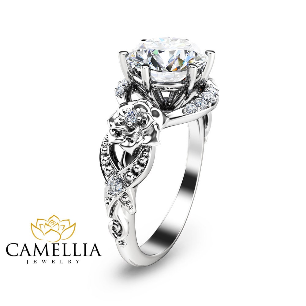 unique engagement ring 14k white gold 2ct by camelliajewelry