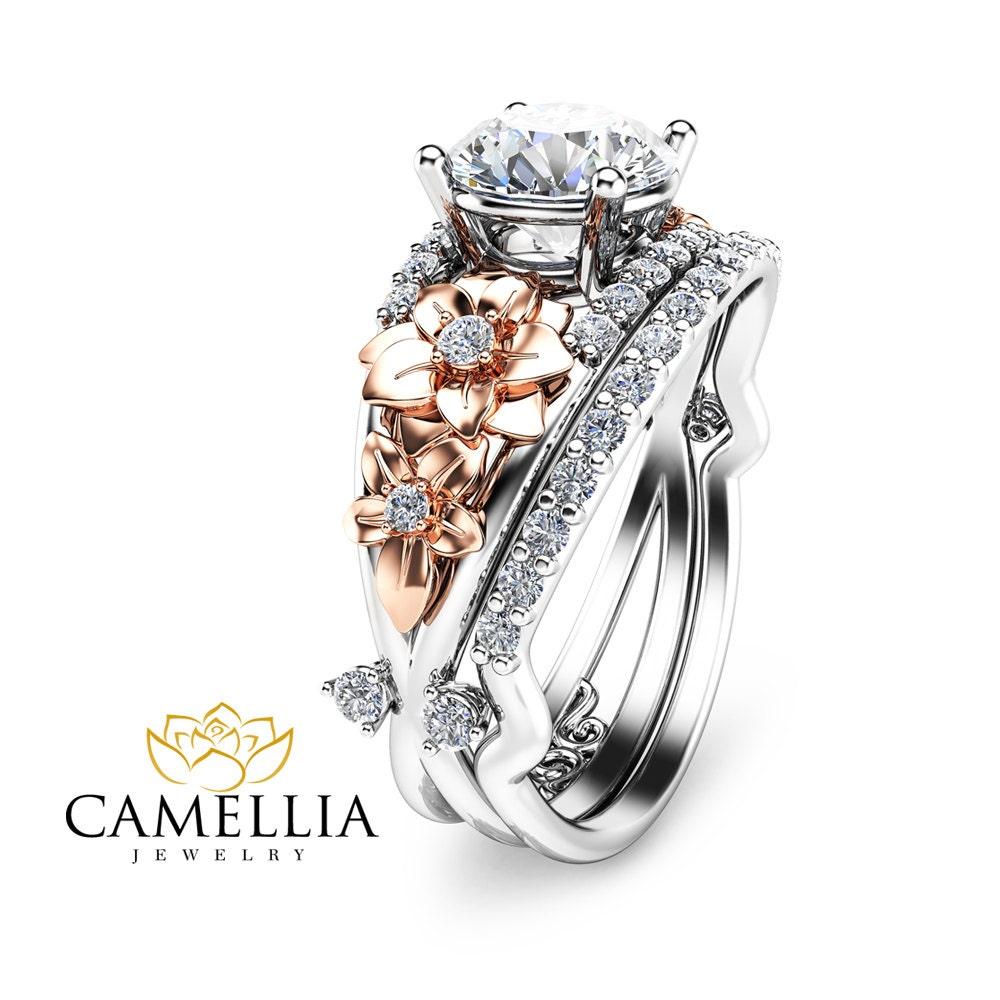 two tone diamond engagement ring set unique bridal set 14k two. Black Bedroom Furniture Sets. Home Design Ideas