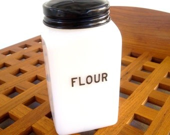 Vintage Milk Glass Flour Shaker - White Shaker With Black Lid