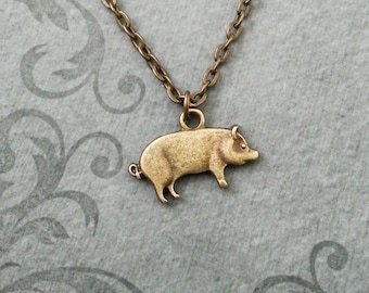 Pig pendant etsy pig necklace small bronze pig jewelry brass pig pendant necklace sow necklace farm animal necklace bacon mozeypictures Gallery