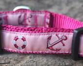 Pink Anchors Away Dog Collar—Adjustable ribbon dog collar