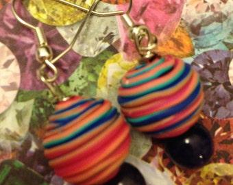 Rainbow Purple Swirl Earrings