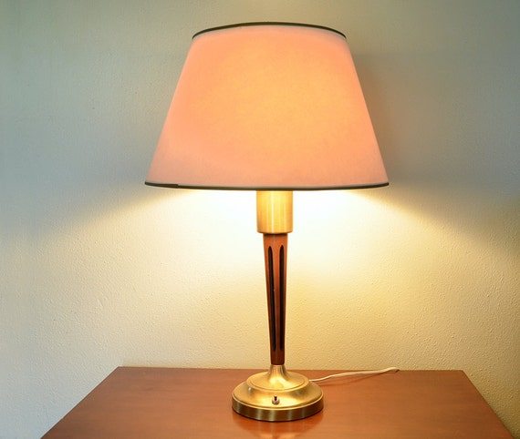 vintage mid century modern wood and brass lamp