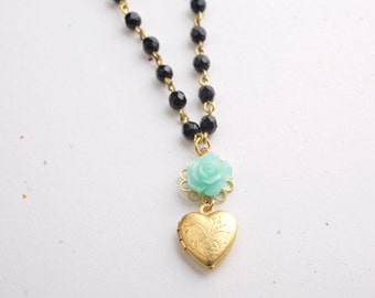 Black Bead Strand and Golden Heart Necklace with Blue flower, Long Necklace.