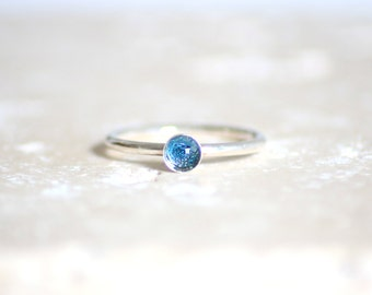 Topaz / 925 and Blue Topaz silver ring