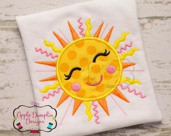 Happy Shining Summer Sun Appliqué Machine Embroidery Design, Girl, Beach, Girly, Spring, Cute, 4x4, 5x7, 6x10, 9x9