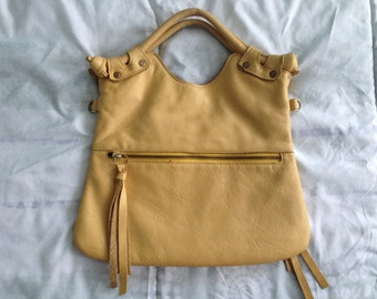 Pre Loved Brooklyn Foldover Clutch Messenger in Mustard Yellow Leather