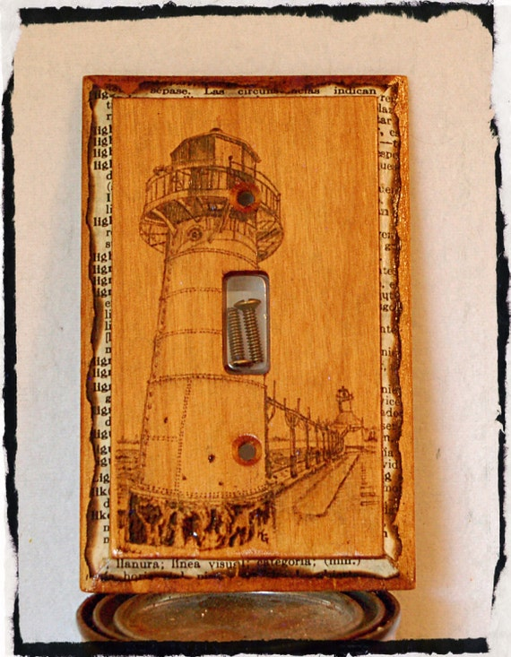 Lighthouse switch plate cover wood burned and stained in for Lighthouse switch plates