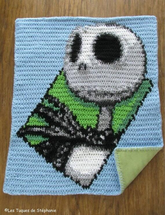 Crocheted Jack Skellington Blanket Lined White Fleece Custom