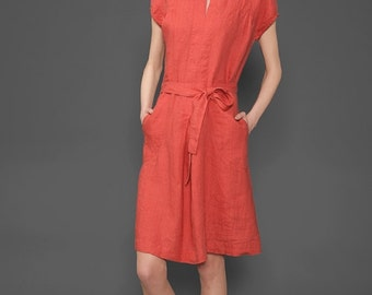 100% Linen Dress in coral red, flax summer dress, washed linen red midi dress with short sleeves