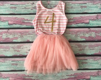 4th Birthday Tutu Dress, Birthday Dress, Little Girls Birthday Dress, Third Birthday Dress