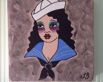 Sailor Girl on a stretched deep edge canvas.