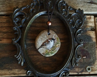 Painted NECKLACE. SPARROW. Handmade PENDANT.