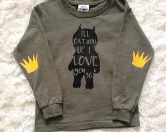 I'll Eat You Up long sleeve toddler/kid shirt