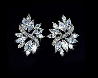 Marquise Cut Cubic Zirconia Leaf Floral Earring Bridal Jewelry gift