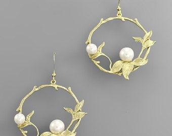 Pearl & Gold Leaf Wreath Earrings