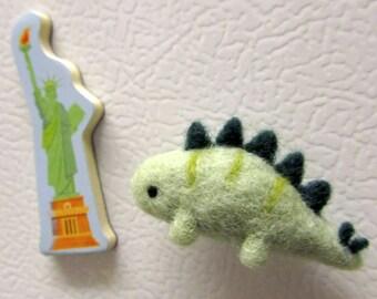 Needle Felted Stegosaurus Fridge Magnet, Dinosaur Magnet, Kitchen Decor, Felt animal magnet, Cute fridge magnet, Felt magnet, Dinosaur Decor