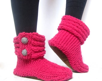 Women's House Slippers with Soft Soles – Women's Knit Slippers - House Shoes - Slipper Boots - Birthday Gift for Mom- Booties with Soft Sole