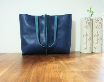 FREE SHIPPING and COINpurse leather tote bag ,handmade leather bag ,tote bag ,large leather bag,blue leather bag,borsa di cuoio,