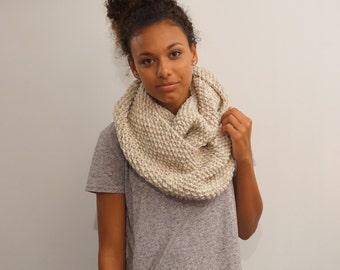 The Alpine - big warm & cozy winter knit Infinity scarf / cowl- wheat