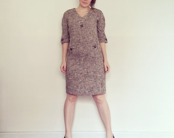 Vintage Dress / Brown Tweed Shift / 1960s
