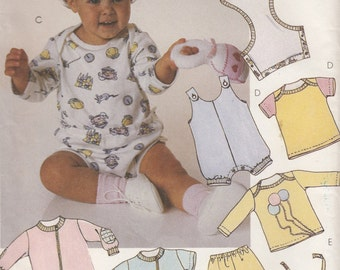 McCall's 4640 Infants Jumpsuit Romper Tops Pants Bib & Appliques Sewing Pattern - Baby's Retro Sewing Pattern - Uncut Sewing Pattern