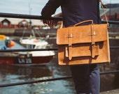 """Leather Briefcase, 15"""" Men's Messenger Bag , Handmade Cross-body Bag, Leather Messenger, Briefcase, Saddlebag, Laptop Bag, Work Messenger"""