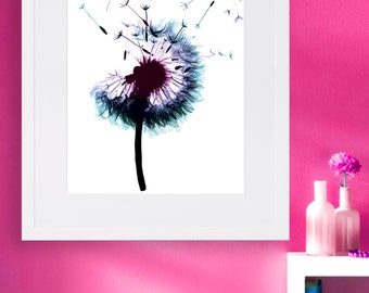 Water Color Art - Dandelion Artwork - Floral Print - Instant Download - Digital Print - Wall Art print - Printable Poster