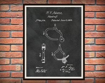 Patent 1862 Hand Cuff Patent -  Art Print - Poster - Wall Art - Police Art  - Police Equipment - Police Station Wall Art - Handcuffs patent