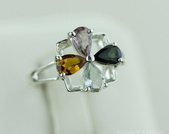 Size 6 PARIBa Watermelon TOURMALINE LIDDICOATITE (Nickel Free) 925 Fine S0LID Sterling Silver Ring & Free Worldwide Express Shipping r1477