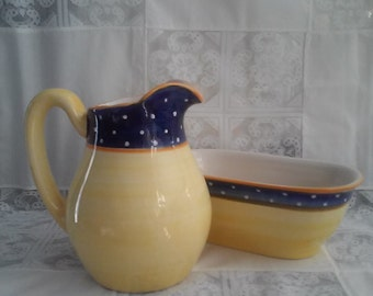 Vintage Planter And Pitcher Combo.  Signed - Made And Hand Painted In Portugal, Designed By Jay Willfred For Andrea By Sadek.