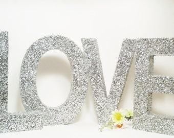 Bridal Shower Decorations, Wood Letters, Love Sign, Wedding Sign, Wedding Centerpiece, Sweetheart Table Decor, Silver Wedding, Glitter Sign