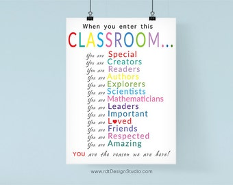 When you enter this Classroom... Instant Download Classroom Decor Classroom Sign Back To School Typography Print Printable Poster, DT37