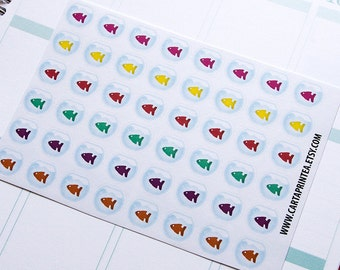 48 fish bowl stickers, pet stickers, pet fish stickers, planner stickers, reminder, animal stickers eclp filofax happy planner kikkik