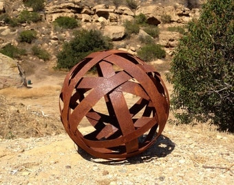 Rustic Sphere,Sphere,garden art,lamp,sphere sculpture,globes,metal ball,garden sphere,metal yard art,metal art,abstract sculpture,balls
