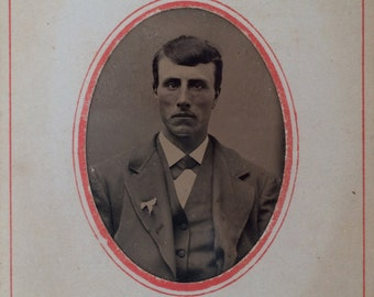 Vintage portrait  tintype of George Foster Wright