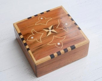 Wooden Inlaid Box Carved