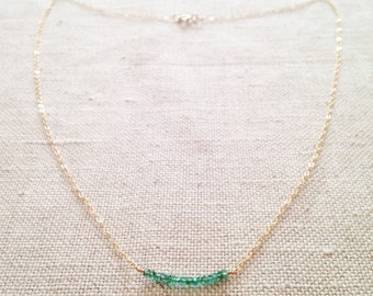 Genuine Emerald Necklace - Emerald Necklace - Real Emerald Necklace - Emerald Jewelry - Green Necklace - May Birthstone - Delicate Necklace