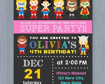 SUPERHERO Girl Invitation, SUPERHERO Girl Birthday Invitation, Girl Superhero Invitation, Super girl invite
