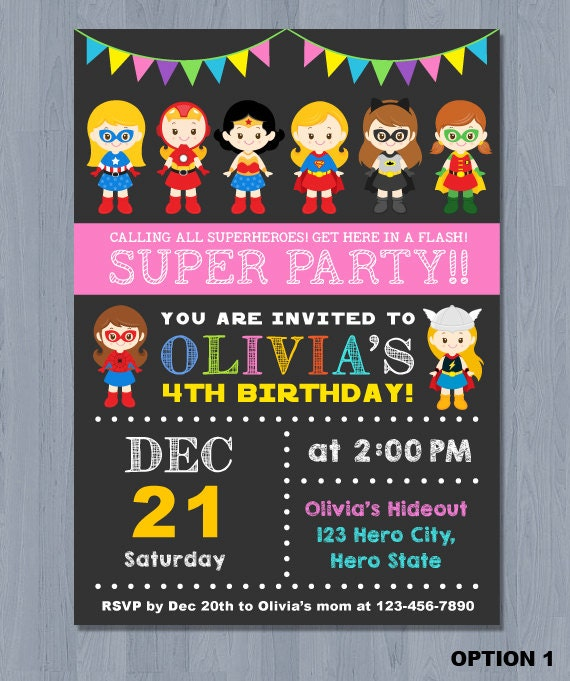 SUPERHERO Girl Invitation SUPERHERO Girl Birthday By KidzParty