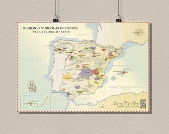 Spain Wine Region Map - Vintage Wine Poster Retro Food Drinks Art Reproduction Spain Map Kitchen Decor Wine Art  t