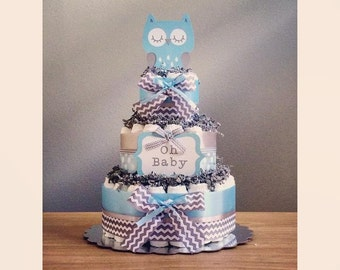 Owl diaper cake with 'oh baby' & owl die cuts, multiple colors available, owl baby shower centerpiece, owl party decorations