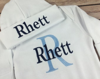 Personalized Baby Gown Take Home Outfit, Monogram Baby Beanie Hat, Newborn Boy Outfit, Baby Boy Outfit, Infant Gown Baby Boy Outfit